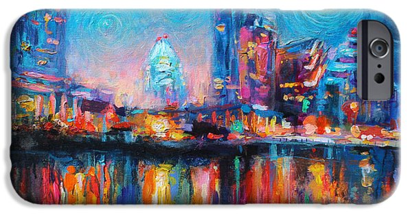 Color Drawings iPhone Cases - Austin Art impressionistic skyline painting #2 iPhone Case by Svetlana Novikova