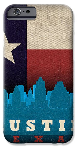 Shape iPhone Cases - Austin City Skyline State Flag Of Texas Art Poster Series 010 iPhone Case by Design Turnpike