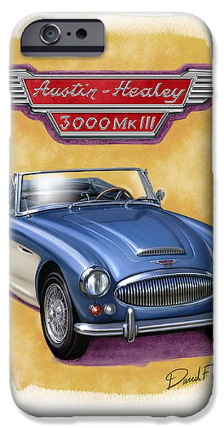 Austin iPhone Cases - Austin Healey 3000 Blue-white iPhone Case by David Kyte
