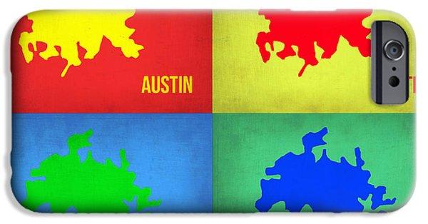 Austin iPhone Cases - Austin Pop Art Map 1 iPhone Case by Naxart Studio