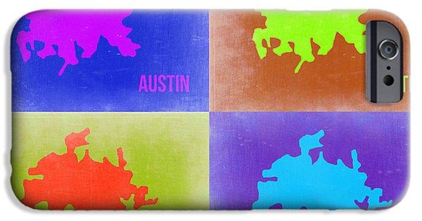 Austin iPhone Cases - Austin Pop Art Map 2 iPhone Case by Naxart Studio