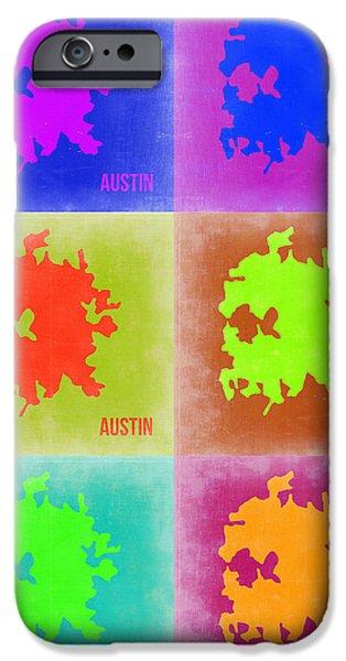 Austin iPhone Cases - Austin Pop Art Map 4 iPhone Case by Naxart Studio