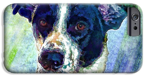 Puppies Digital Art iPhone Cases - Austin iPhone Case by Robin  Waters