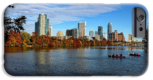 River View iPhone Cases - Austin Skyline from Lou Neff Point iPhone Case by Judy Vincent
