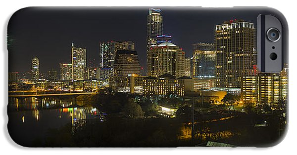 Fireworks iPhone Cases - Panorama Images of Fireworks and the Austin Skyline on New Years Eve iPhone Case by Rob Greebon
