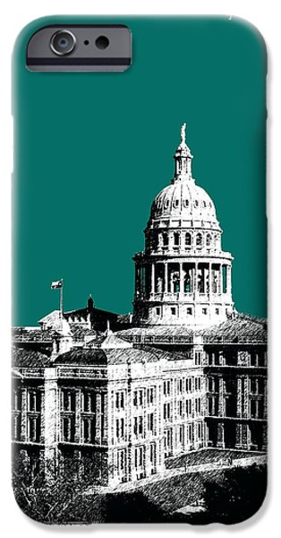 Pen And Ink iPhone Cases - Austin Texas Capital - Sea Green iPhone Case by DB Artist