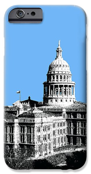 Pen And Ink Digital Art iPhone Cases - Austin Texas Capital - Sky Blue iPhone Case by DB Artist