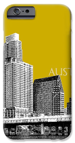 Pen And Ink iPhone Cases - Austin Texas Skyline - Gold iPhone Case by DB Artist