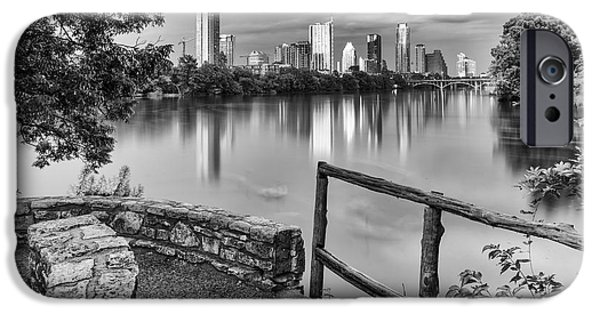 Capitol iPhone Cases - Austin Texas Skyline Lou Neff Point in Black and White iPhone Case by Silvio Ligutti
