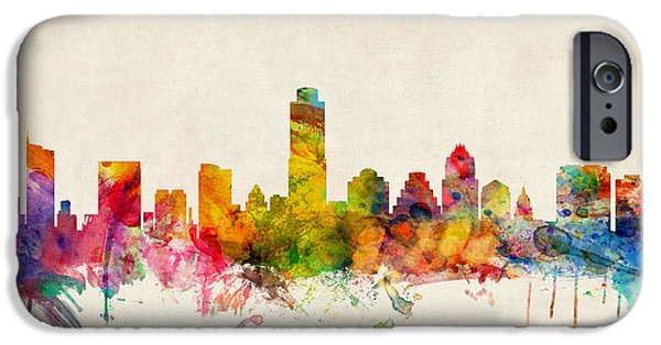 Watercolor iPhone Cases - Austin Texas Skyline iPhone Case by Michael Tompsett