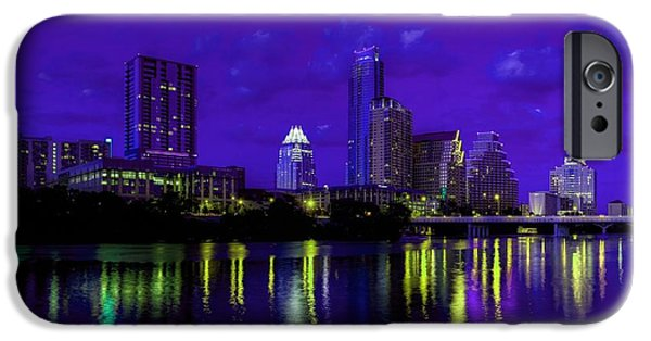 Buildings Mixed Media iPhone Cases - Austin TX Skyline at Night iPhone Case by Dan Haraga