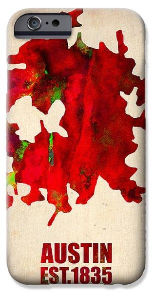 Austin iPhone Cases - Austin Watercolor Map iPhone Case by Naxart Studio