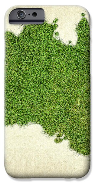 Australia Grass Map iPhone Case by Aged Pixel