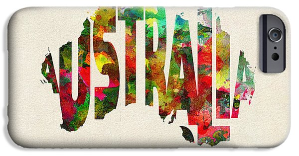 Original Watercolor iPhone Cases - Australia Typographic Watercolor Map iPhone Case by Ayse Deniz