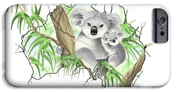 Koala Digital Art iPhone Cases - Australia iPhone Case by Veronica Minozzi