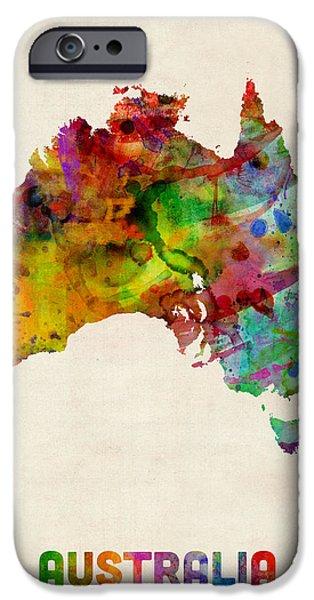 Paint Digital Art iPhone Cases - Australia Watercolor Map iPhone Case by Michael Tompsett