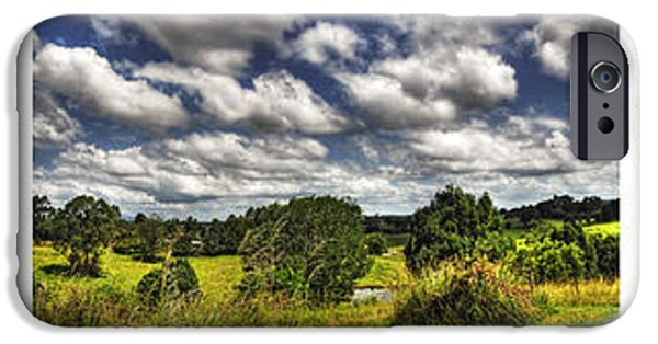 Old Fence Posts iPhone Cases - Australian Countryside - Floating Clouds Collage iPhone Case by Kaye Menner