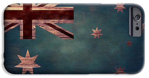 Aged Wood Digital iPhone Cases - Australian Flag I iPhone Case by April Moen