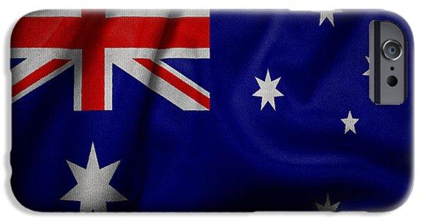 Waving Flag Mixed Media iPhone Cases - Australian flag waving on canvas iPhone Case by Eti Reid