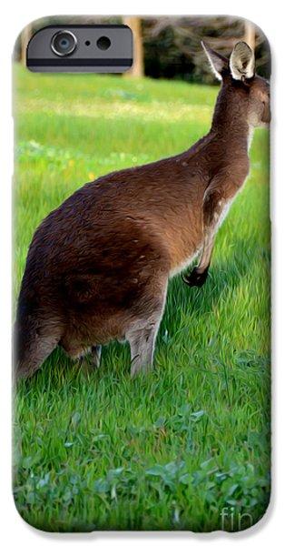 Kangaroo Digital Art iPhone Cases - Australian Kangaroo at Sunset iPhone Case by Phill Petrovic