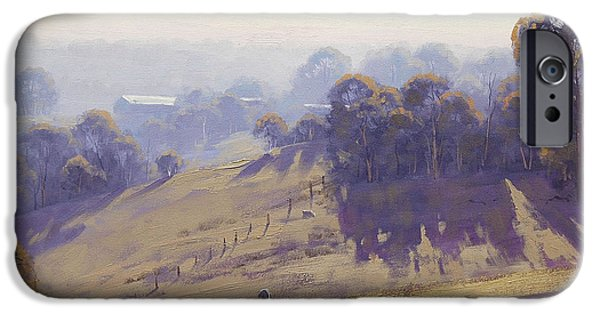 Morning Light Paintings iPhone Cases - Australian Oil Painting iPhone Case by Graham Gercken