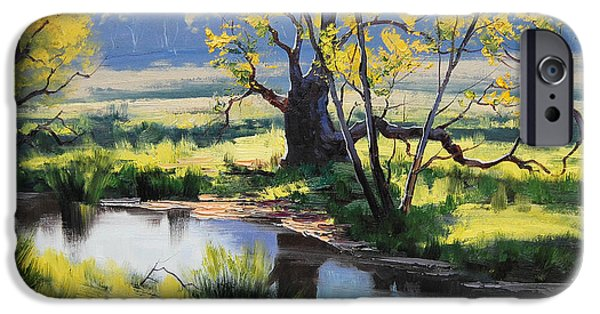 River iPhone Cases - Australian River Painting iPhone Case by Graham Gercken