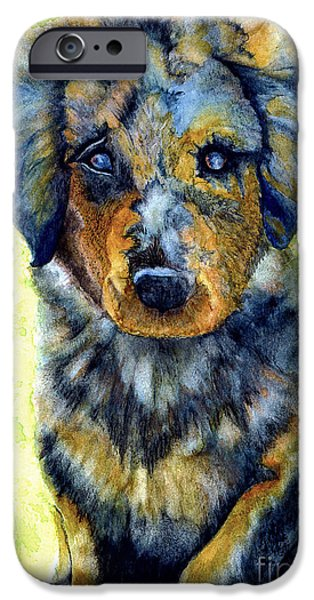 Gray Hair Paintings iPhone Cases - Australian Shepherd Puppy iPhone Case by Janine Riley