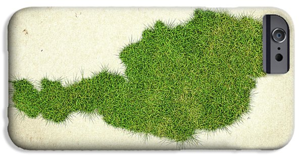 Waste Water iPhone Cases - Austria Grass Map iPhone Case by Aged Pixel