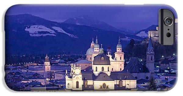 Salzburg iPhone Cases - Austria, Salzburg, Aerial View iPhone Case by Panoramic Images