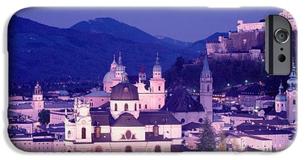 Salzburg iPhone Cases - Austria, Salzburg, Panoramic View iPhone Case by Panoramic Images