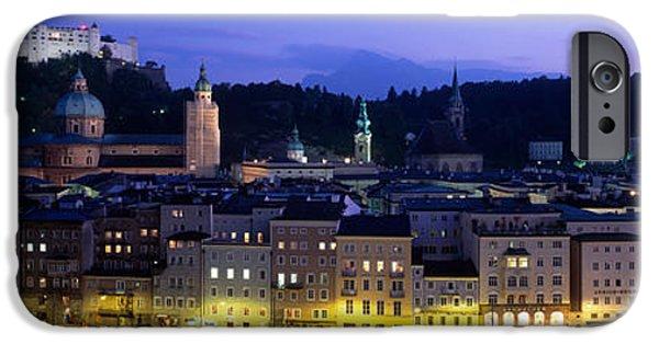Salzburg iPhone Cases - Austria, Salzburg, Salzach River iPhone Case by Panoramic Images