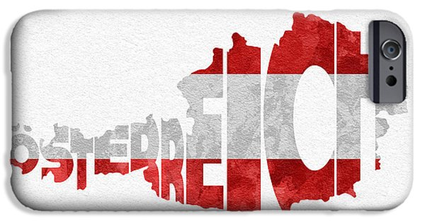 Austria iPhone Cases - Austria Typographic Map Flag iPhone Case by Ayse Deniz