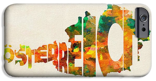 Original Watercolor iPhone Cases - Austria Typographic Watercolor Map iPhone Case by Ayse Deniz