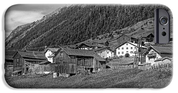Village iPhone Cases - Austrian Village monochrome iPhone Case by Steve Harrington