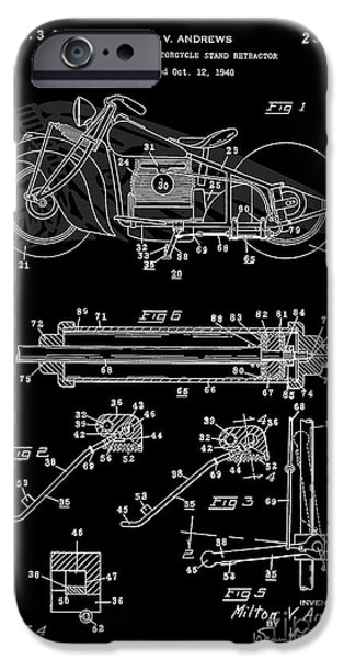 Drawing Of The Factory iPhone Cases - Automate Motorcycle Stand Retractor. Black and White iPhone Case by Brian Lambert