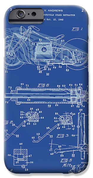 Drawing Of The Factory iPhone Cases - Automate Motorcycle Stand Retractor Lite Blue iPhone Case by Brian Lambert