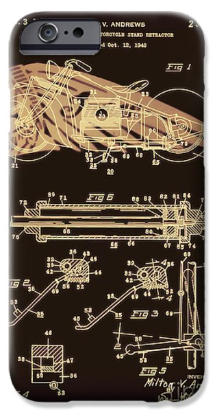 Drawing Of The Factory iPhone Cases - Automate Motorcycle Stand Retractor Red and Black iPhone Case by Brian Lambert
