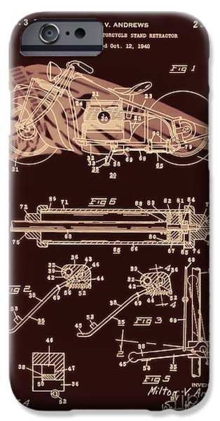 Drawing Of The Factory iPhone Cases - Automate Motorcycle Stand Retractor Red Brown iPhone Case by Brian Lambert