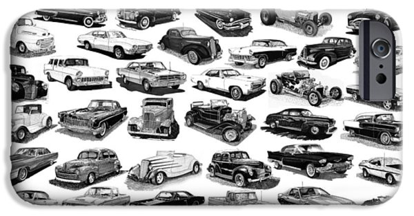 Pen And Ink Framed Prints iPhone Cases - Automotive Pen And Ink Poster iPhone Case by Jack Pumphrey