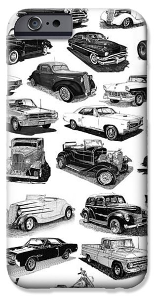 AUTOMOTIVE PEN AND INK POSTER iPhone Case by Jack Pumphrey