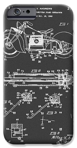 Drawing Of The Factory iPhone Cases - Autonatic Motorcycle Stand Reracor Lit Black iPhone Case by Brian Lambert