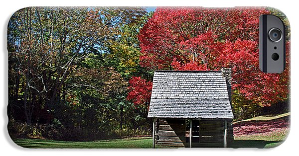 Log Cabin Art iPhone Cases - Autum For A Mountain Home iPhone Case by Skip Willits