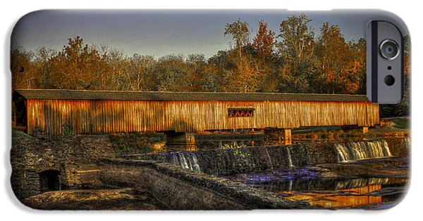 Grist Mill iPhone Cases - Autumn Sunrise Watson Mill Covered Bridge 2 iPhone Case by Reid Callaway