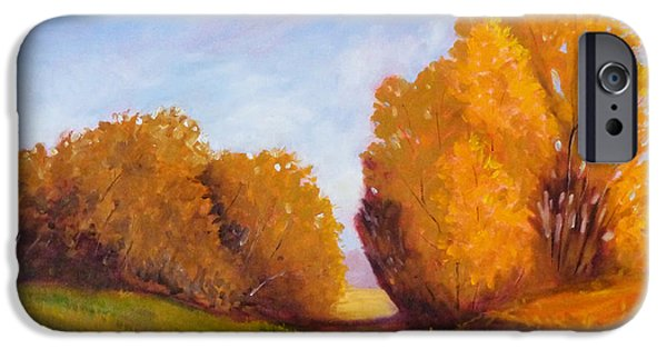 Tangerine Paintings iPhone Cases - Autumn Afternoon iPhone Case by Nancy Merkle