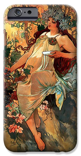 Autumn iPhone Case by Alphonse Maria Mucha