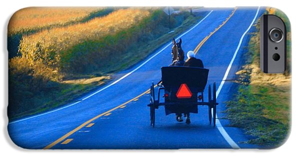 Horse And Buggy iPhone Cases - Autumn Amish Buggy Ride iPhone Case by Dan Sproul