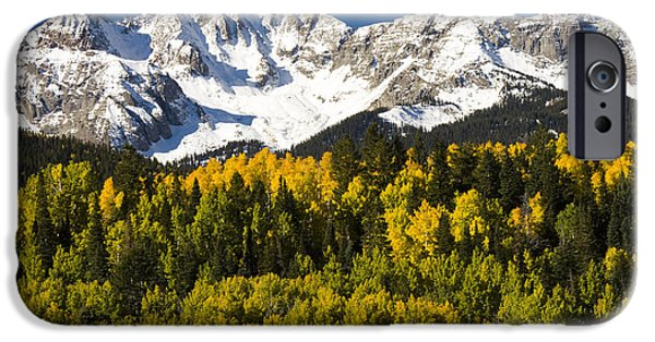 Mountains iPhone Cases - Autumn And Snow Covered Peaks North iPhone Case by Tom Vezo