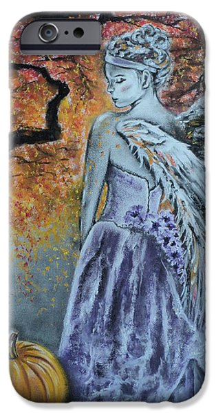 Fall Pastels iPhone Cases - Autumn Angel iPhone Case by Carla Carson
