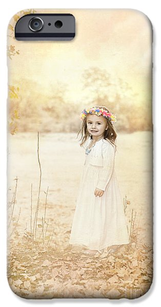 Little Girl iPhone Cases - Autumn Angel iPhone Case by Cindy Singleton