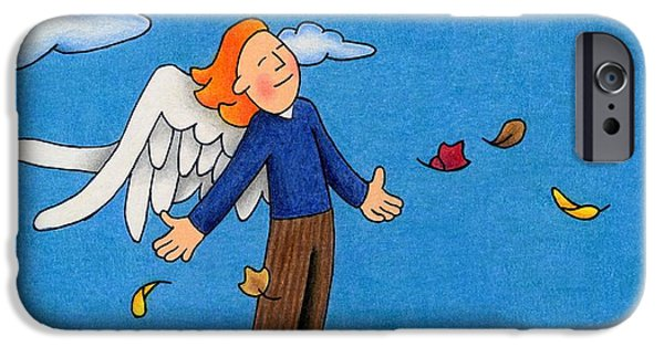 Religious Drawings iPhone Cases - Autumn Angel iPhone Case by Sarah Batalka